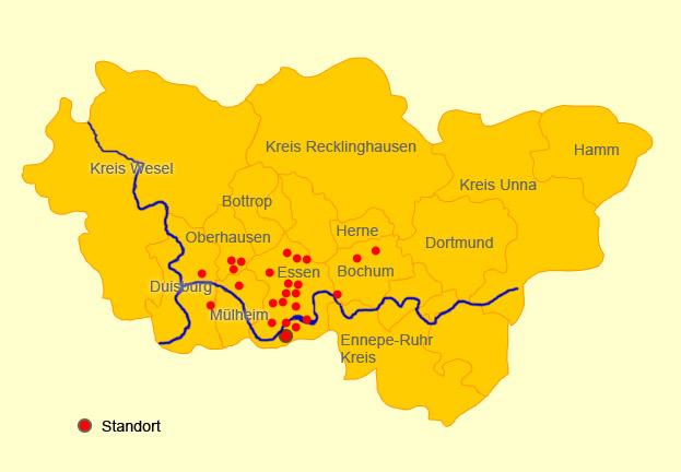 Karte Ruhrgebiet.Bilderbogen Ruhrgebiet